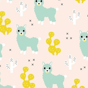 Soft pastel llama alpaca love cactus summer design mint yellow