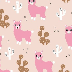 Adorable llama alpaca love cactus summer fall design copper pink