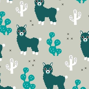Winter cool Llama alpaca love cactus design blue teal
