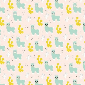 Soft pastel llama alpaca love cactus summer design mint yellow SMALL