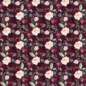 """2"""" Wild at Heart Florals _ Dark Crimson"""