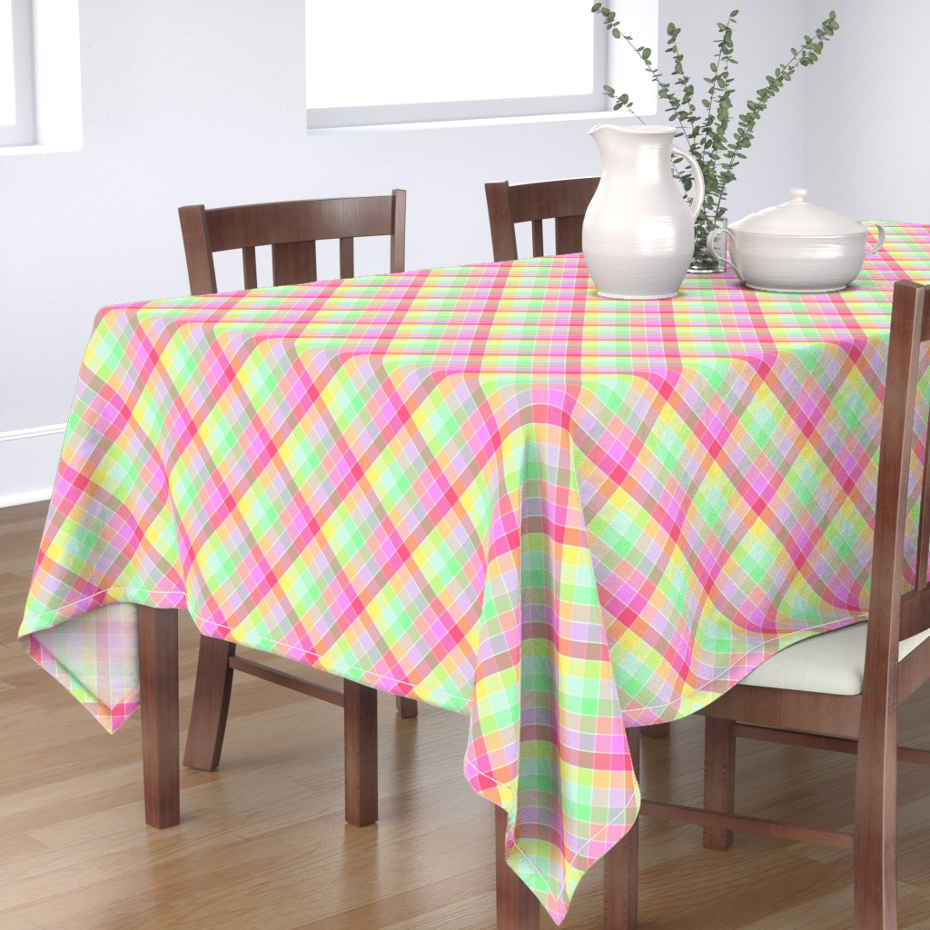 Bantam Rectangular Tablecloth featuring Pastel Rainbow Tablecloth Diagonal Check by paper_and_frill