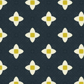 Retro Floral M+M Navy Black by Friztin