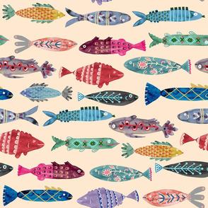 Large Colorful Folk Fish - tan background