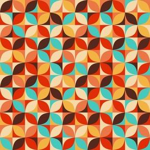 Retro circle mix teal orange brown Fabric
