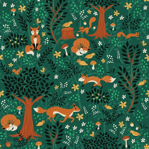Foxes Playing in the Emerald Forest