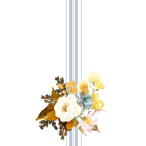 "17""x17"" Autumn Love White Blue Blush and Gold Floral Napkin"