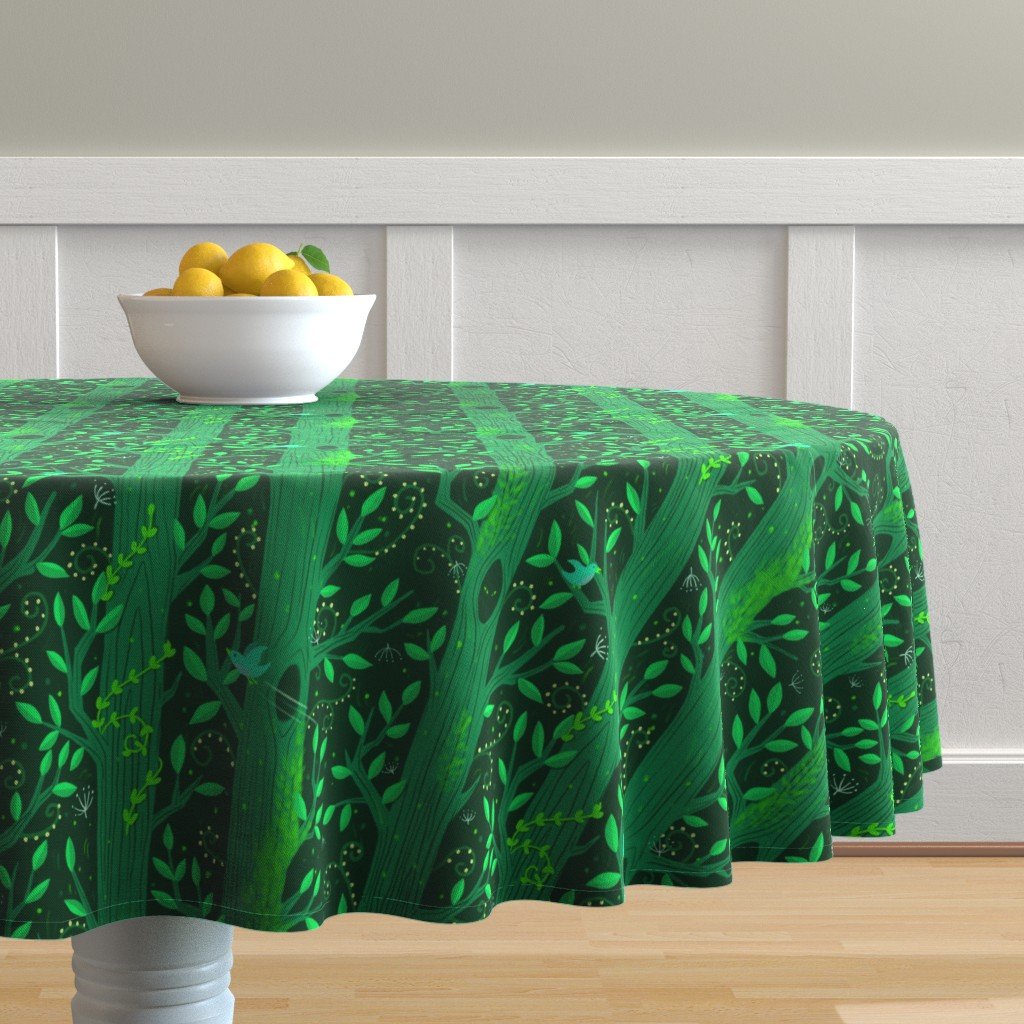 Malay Round Tablecloth featuring Emerald Forest by nikijin