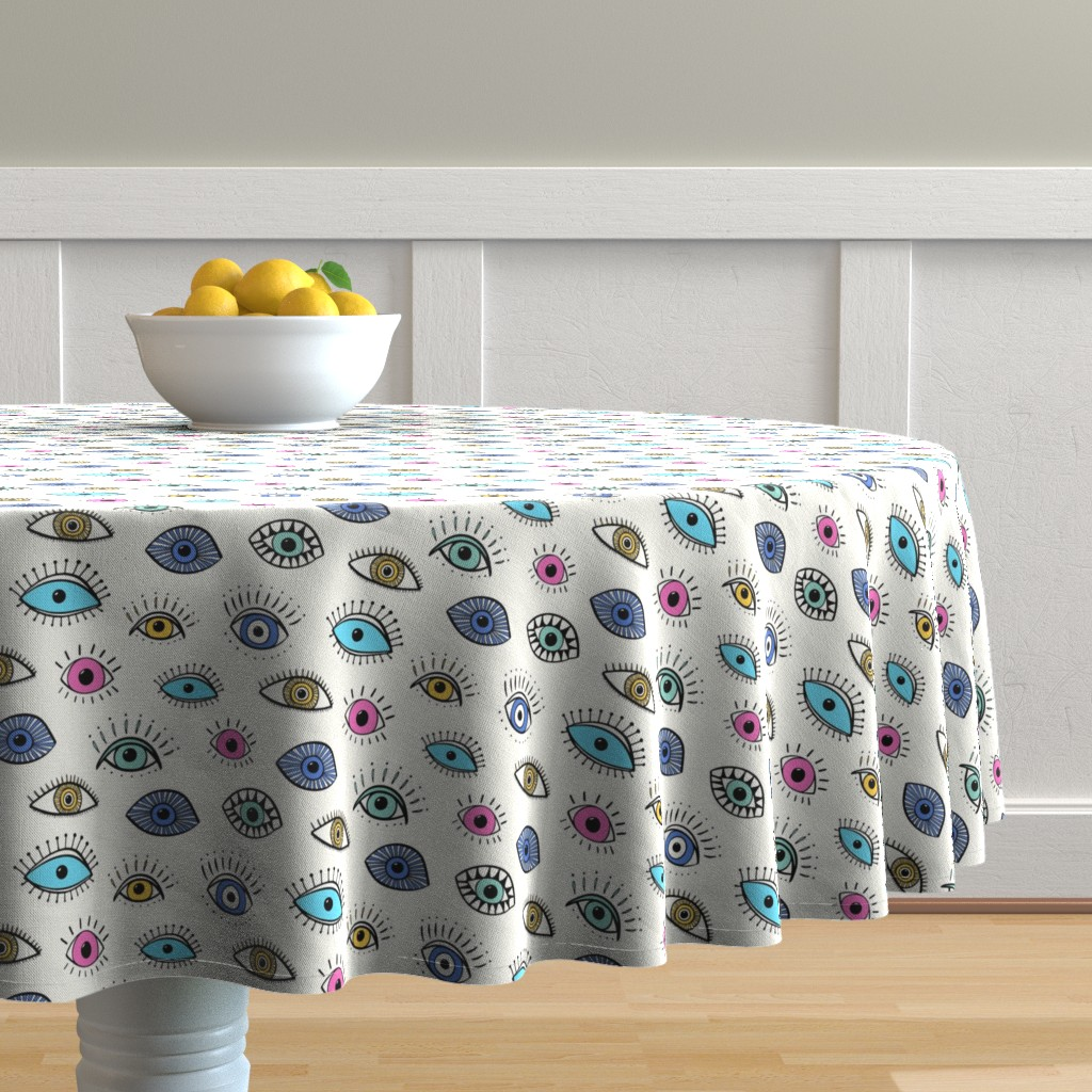 Malay Round Tablecloth featuring evil eye - multi colour (medium scale) by vivdesign