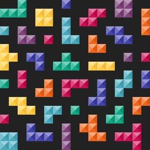 Tetris game bricks 3D jewel tones on black Fabric