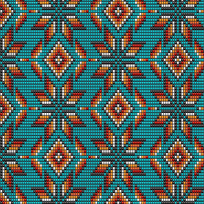 Aztec beaded 3D kilim motif fabric