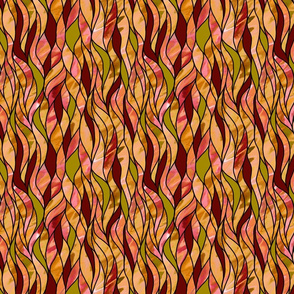 Stained Glass Waves—orange and red