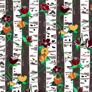 Birch Trees And Floral Vines On Grey - big version