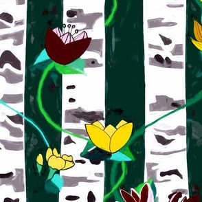 Birch Trees And Floral Vines On Emerald - Big