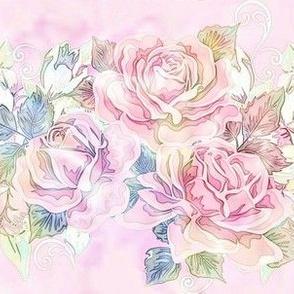 Antique watercolor roses ~
