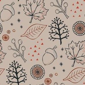 Late Autumn  leaves - beige