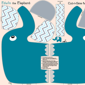 Edwin the Elephant Cut and Sew  chevron