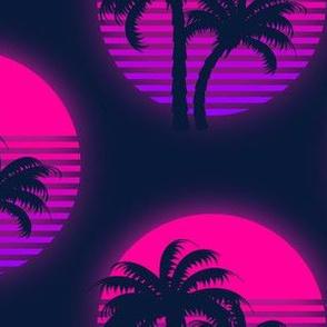 1980s palm sunset neon