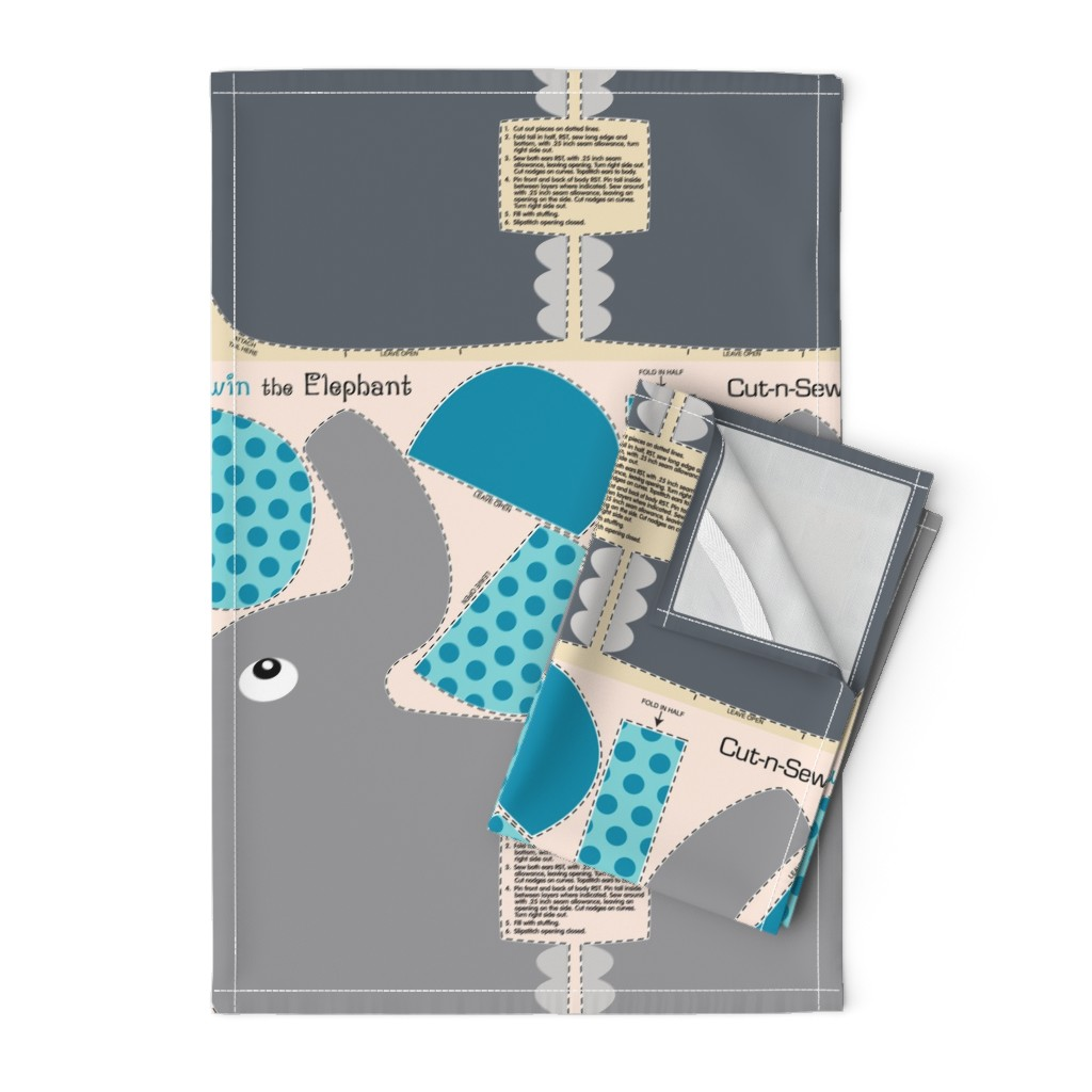 Orpington Tea Towels featuring Edwin the Elephant Cut and Sew  Blue by vintage_style
