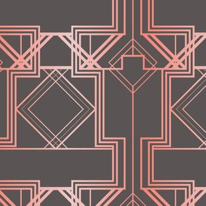 Coral pink and warm grey art deco