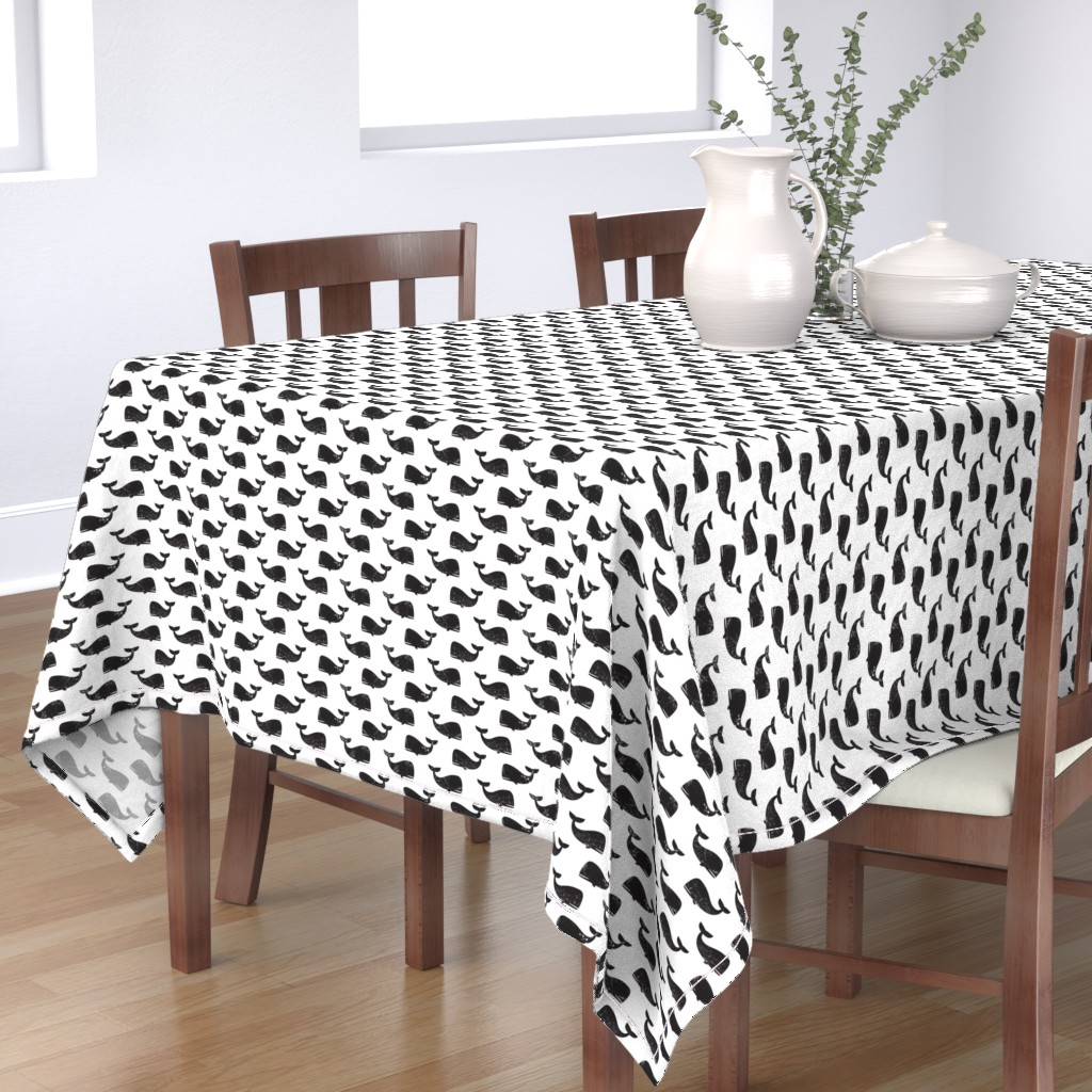Bantam Rectangular Tablecloth featuring whales -  black by littlearrowdesign