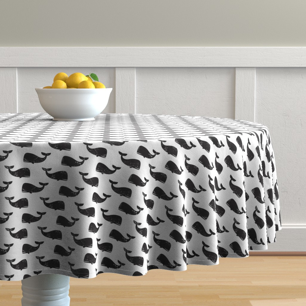 Malay Round Tablecloth featuring whales -  black by littlearrowdesign