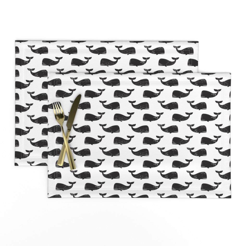 Lamona Cloth Placemats featuring whales -  black by littlearrowdesign
