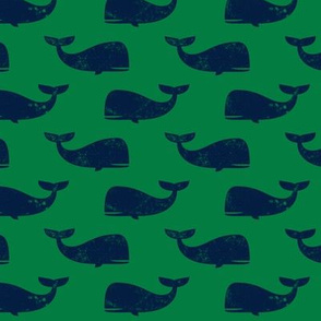whales - navy on green