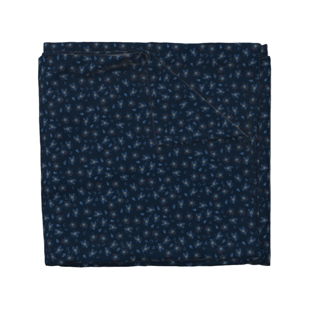 Wyandotte Duvet Cover featuring Floral pattern on a blue background by katrinkastem