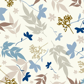 bauhaus floral  blue and taupe
