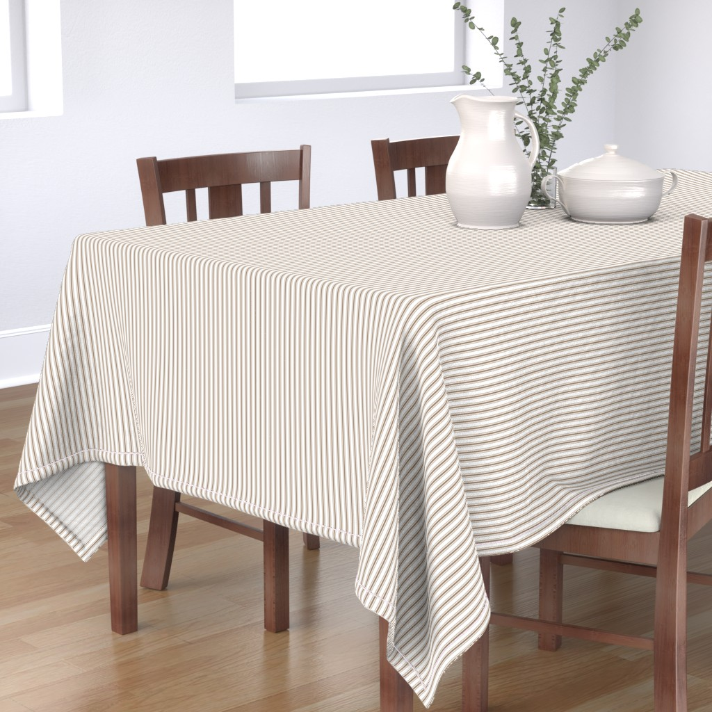 Bantam Rectangular Tablecloth featuring Mattress Ticking Narrow Striped Pattern in Dark Brown and White by paper_and_frill