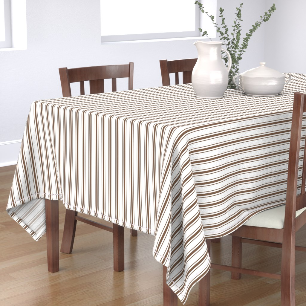 Bantam Rectangular Tablecloth featuring Mattress Ticking Narrow Striped Pattern in Chocolate Brown and White by paper_and_frill