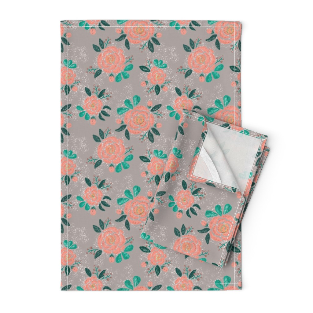 Orpington Tea Towels featuring Snow-covered roses with buds by katrinkastem