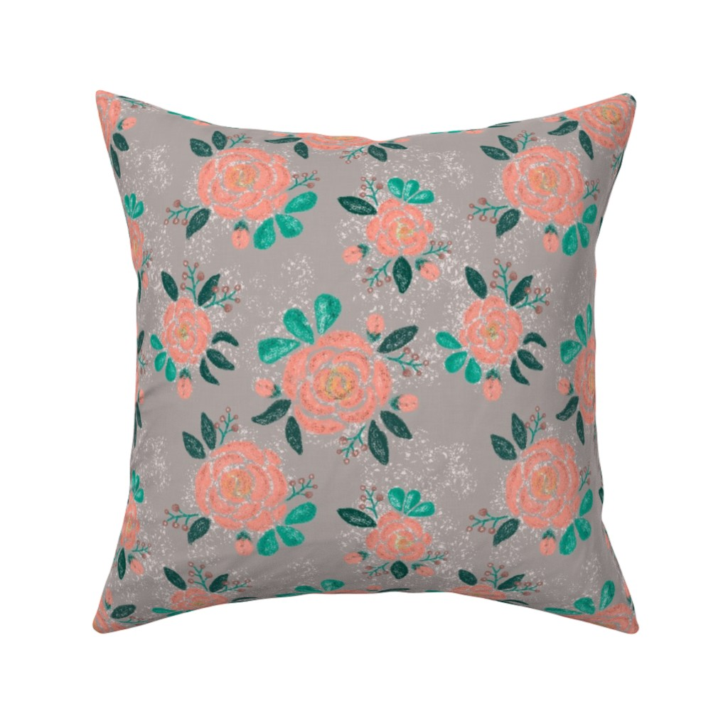 Catalan Throw Pillow featuring Snow-covered roses with buds by katrinkastem