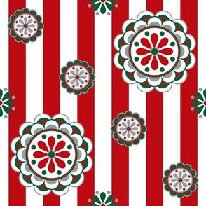 Mod Christmas Flowers on Stripes