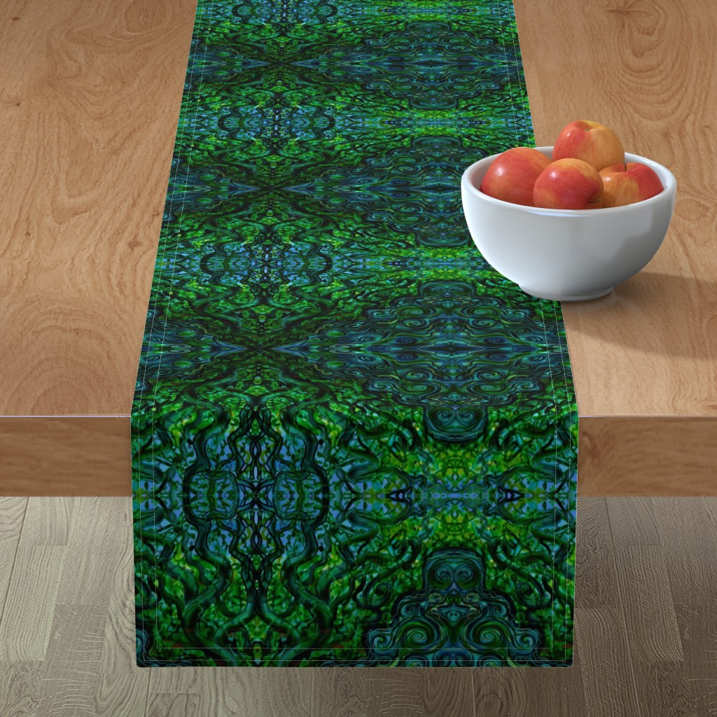 Minorca Table Runner featuring Emerald enchantment by cloudsong_art