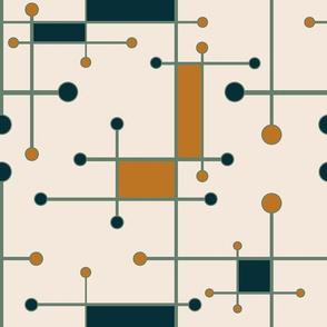 intersecting lines in cream, orange, olive, dark teal