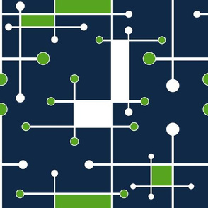 intersecting lines navy lime white