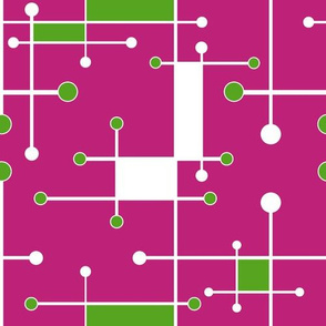 intersecting lines hot pink, lime, white