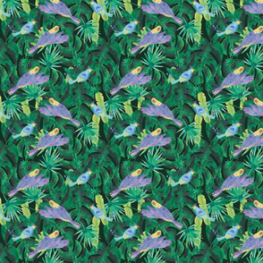 Whimsical birds in the emerald forest