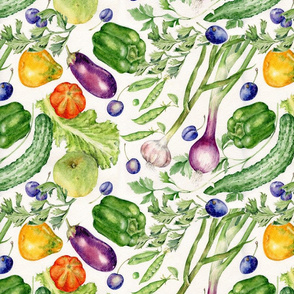 great pattern for Aprons,Table linen,bags and really,anything inspired by garden vegetables and farmers markets,colorful medium size