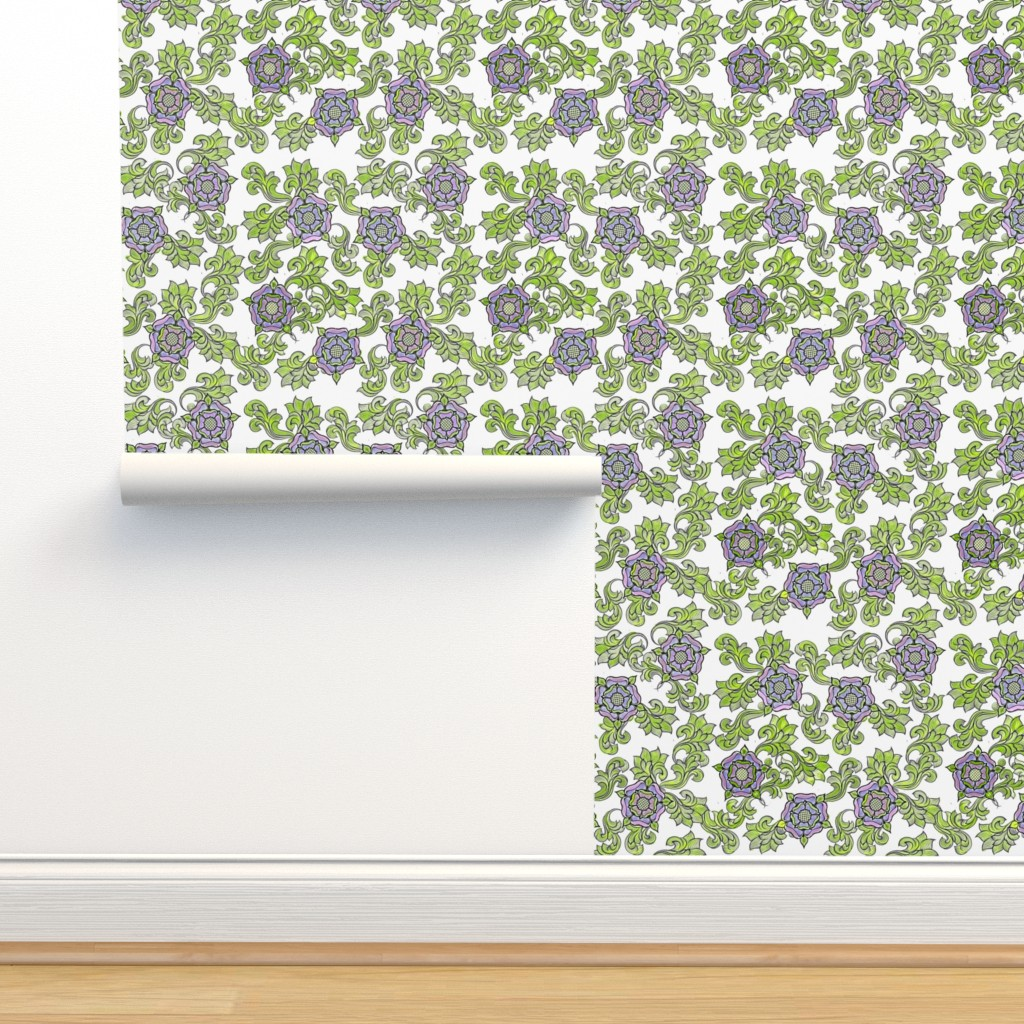 Isobar Durable Wallpaper featuring Tudor Rose White by rima