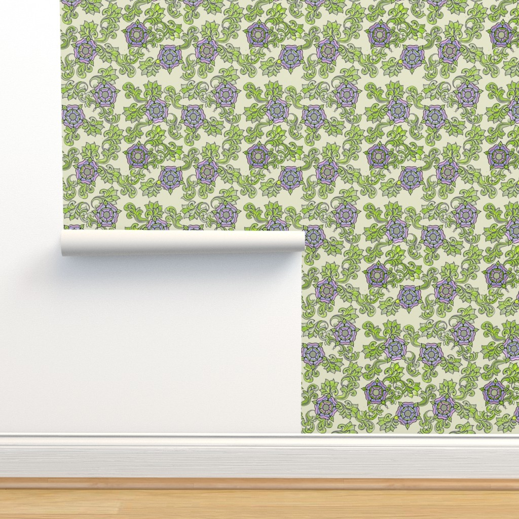 Isobar Durable Wallpaper featuring Tudor Rose Ecru by rima