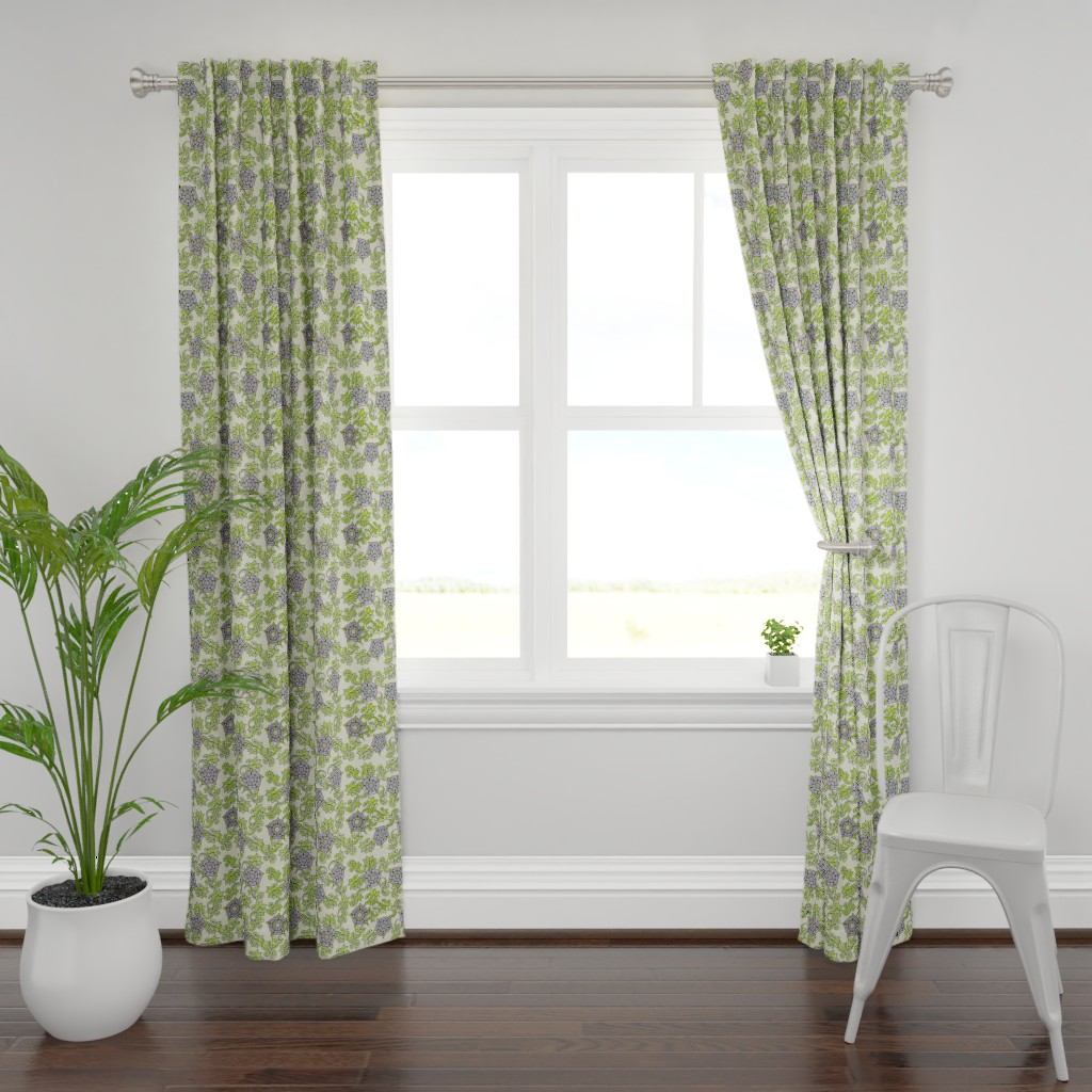 Plymouth Curtain Panel featuring Tudor Rose Ecru by rima