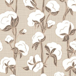Farmhouse Cotton Stalk Stripe - Brown // modern farmhouse cotton boll bloom cotton vine stalk fluff light blue cream fabric