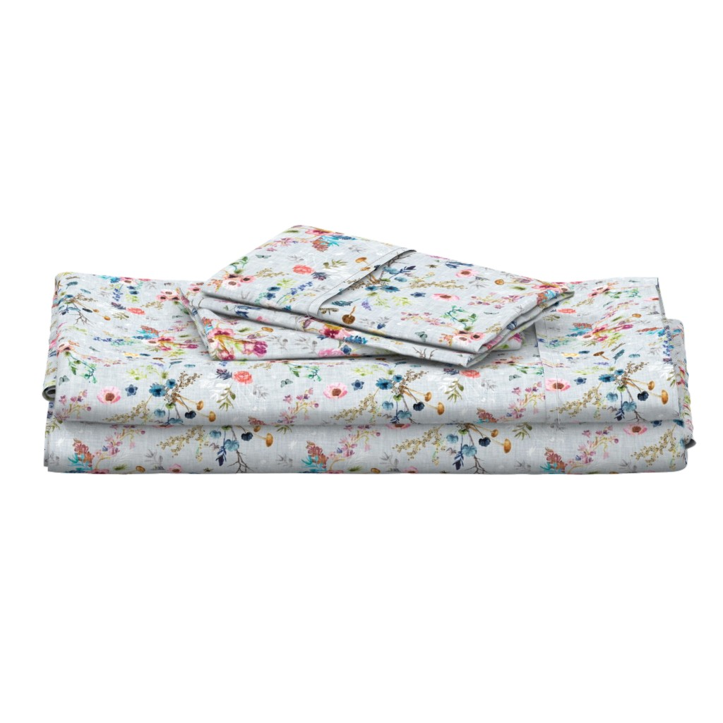 Langshan Full Bed Set featuring Wild Meadow (duck egg blue) MED by nouveau_bohemian