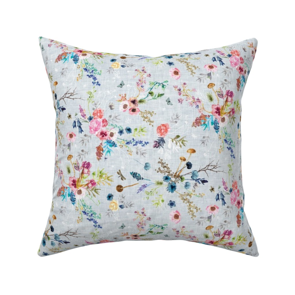 Catalan Throw Pillow featuring Wild Meadow (duck egg blue) MED by nouveau_bohemian