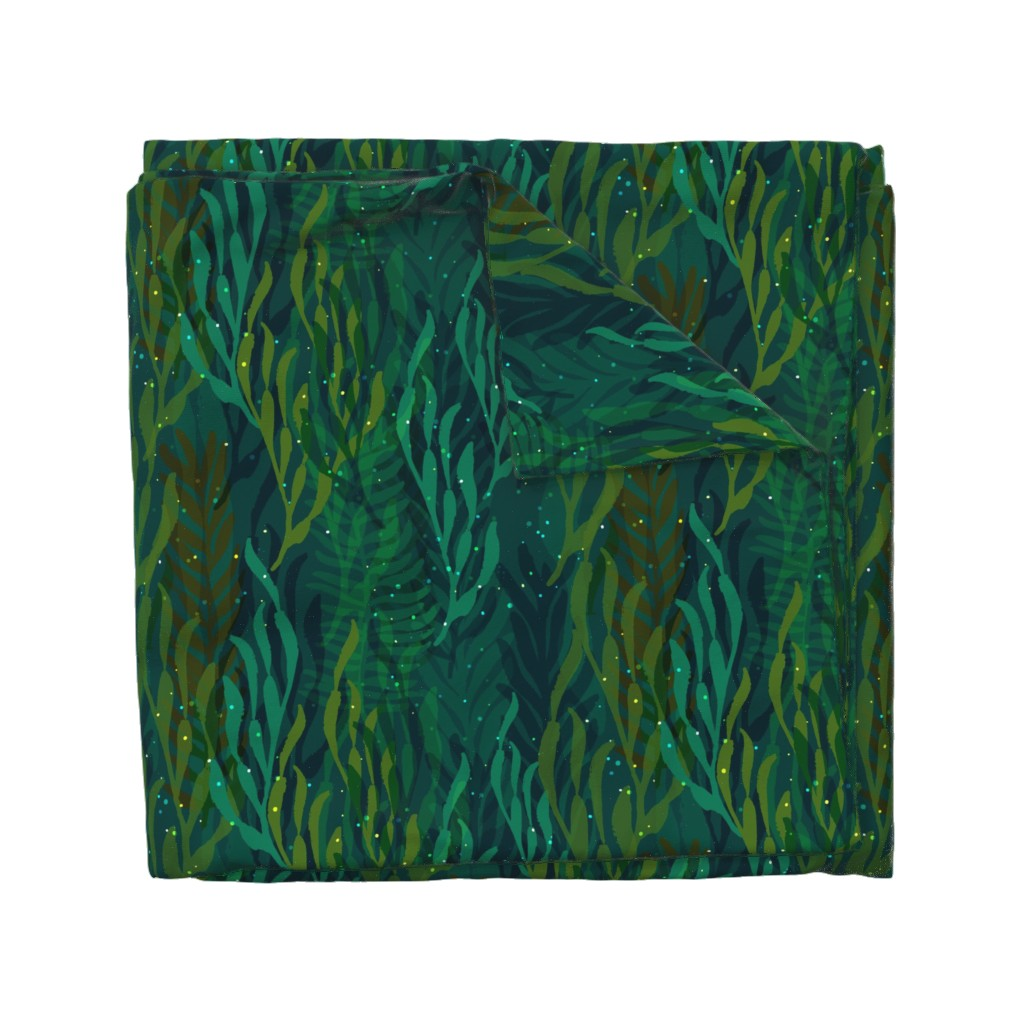 Wyandotte Duvet Cover featuring Underwater Emerald Forest by ceciliamok
