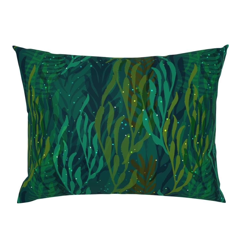 Campine Pillow Sham featuring Underwater Emerald Forest by ceciliamok