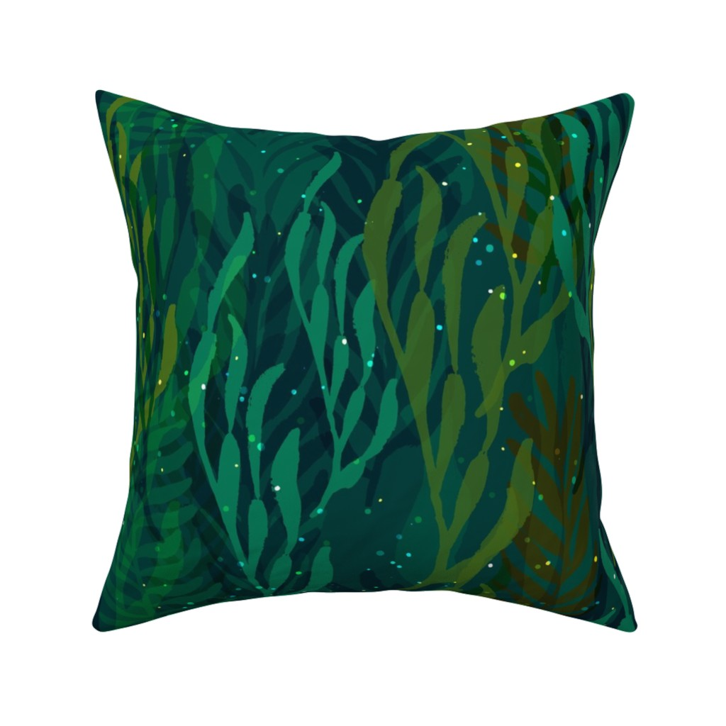Catalan Throw Pillow featuring Underwater Emerald Forest by ceciliamok